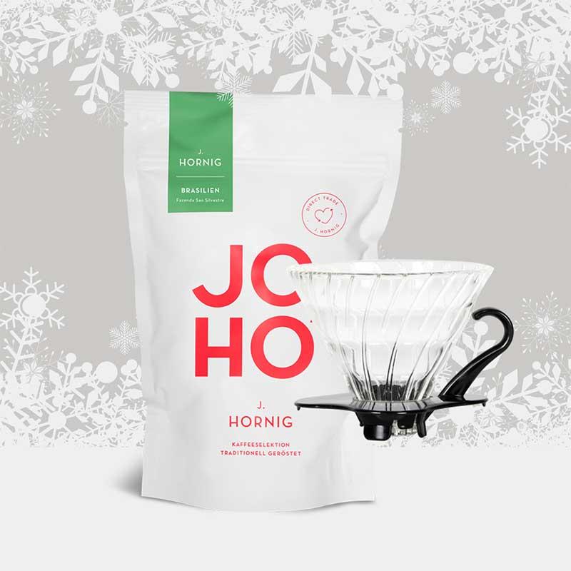Sieben Geschenke-Tipps für Kaffeeliebhaber. Alternatives Zubereitungsutensil und ein Spezialitätenkaffee von J. Hornig